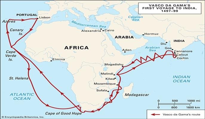डा गामा की पहली भारत यात्रा का मानचित्र